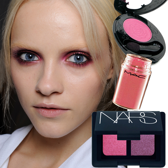 Pink Eyes   Not for the faint of heart. Nina Ricci's Spring 2011 show boasted models in hot fuschia shadow. It's a look that seems surprisingly chic, especially when paired with a squeaky-clean skin. The trick to looking bright-eyed rather than sleepy-eyed? Line eyes with black before applying the pink, and add mascara liberally.   From top to bottom: Anna Sui Eye Color Accent in Hot Pink, $27; MAC Pigment in Neo-Orange, $20; Nars Duo Eyeshadow in Caravaggio, $33