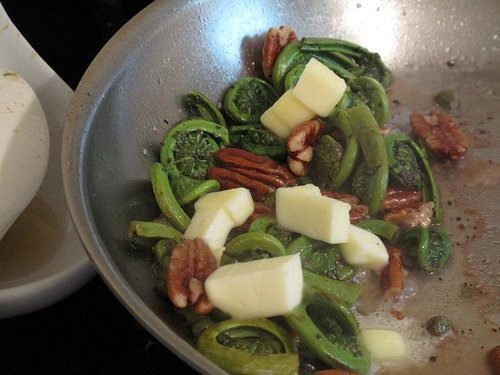 Warm Fiddlehead Salad With Cognac Vinaigrette