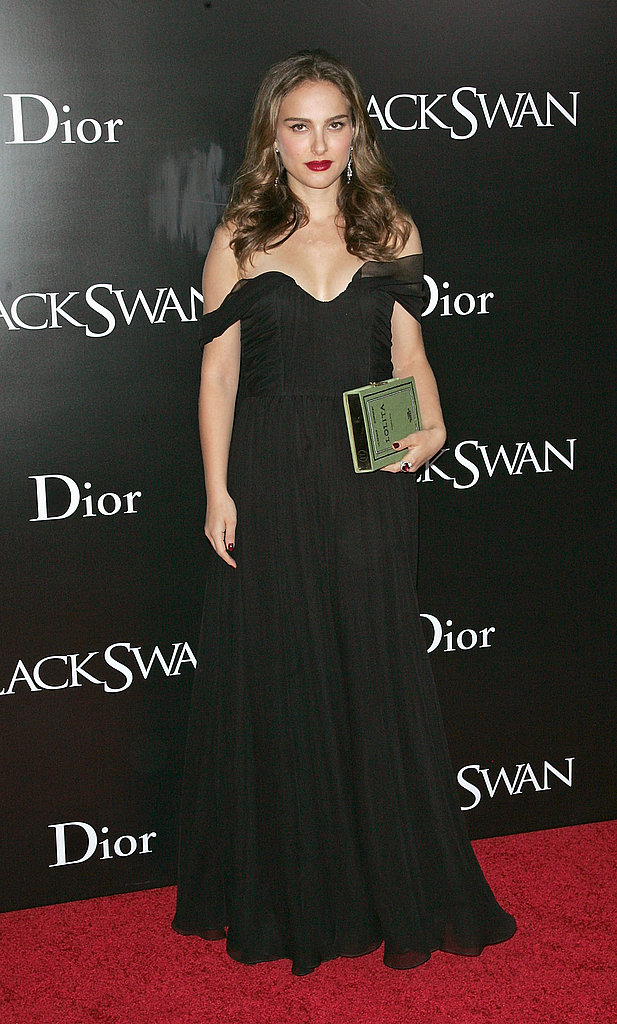 Natalie Portman in an Off-the-Shoulder Black Gown at the 2010 Black Swan New York Premiere