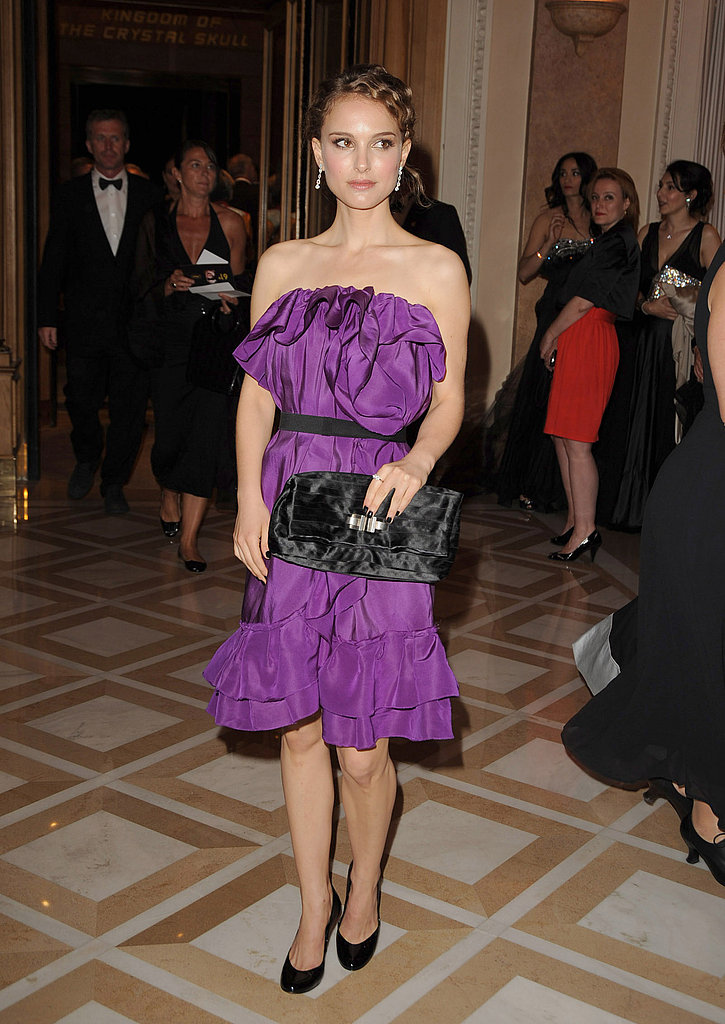 Natalie Portman in a Purple Ruffled Dress at the 2008 Cannes Film Festival