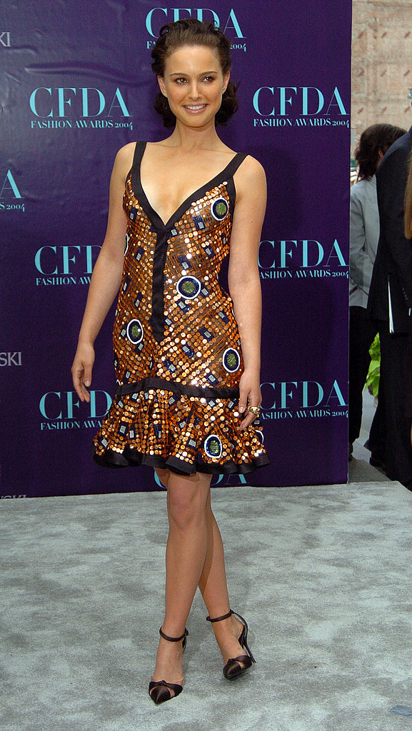 Natalie Portman in a Printed Zac Posen at the 2004 CFDA Awards