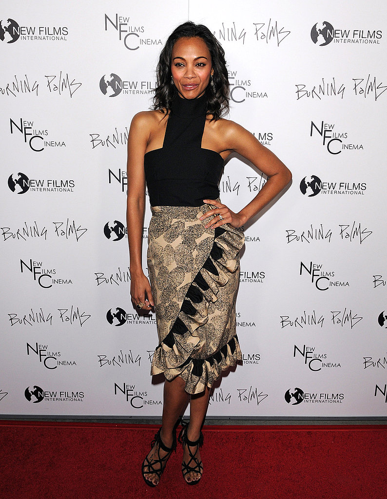 For the premiere of Burning Palms in January 2011, Zoe went tribal in an Yves Saint Laurent skirt and top.