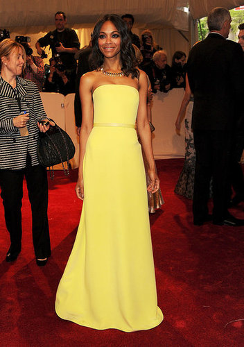 Saldana shined bright like a diamond in a canary-yellow Calvin Klein gown at the Met Gala in 2011.
