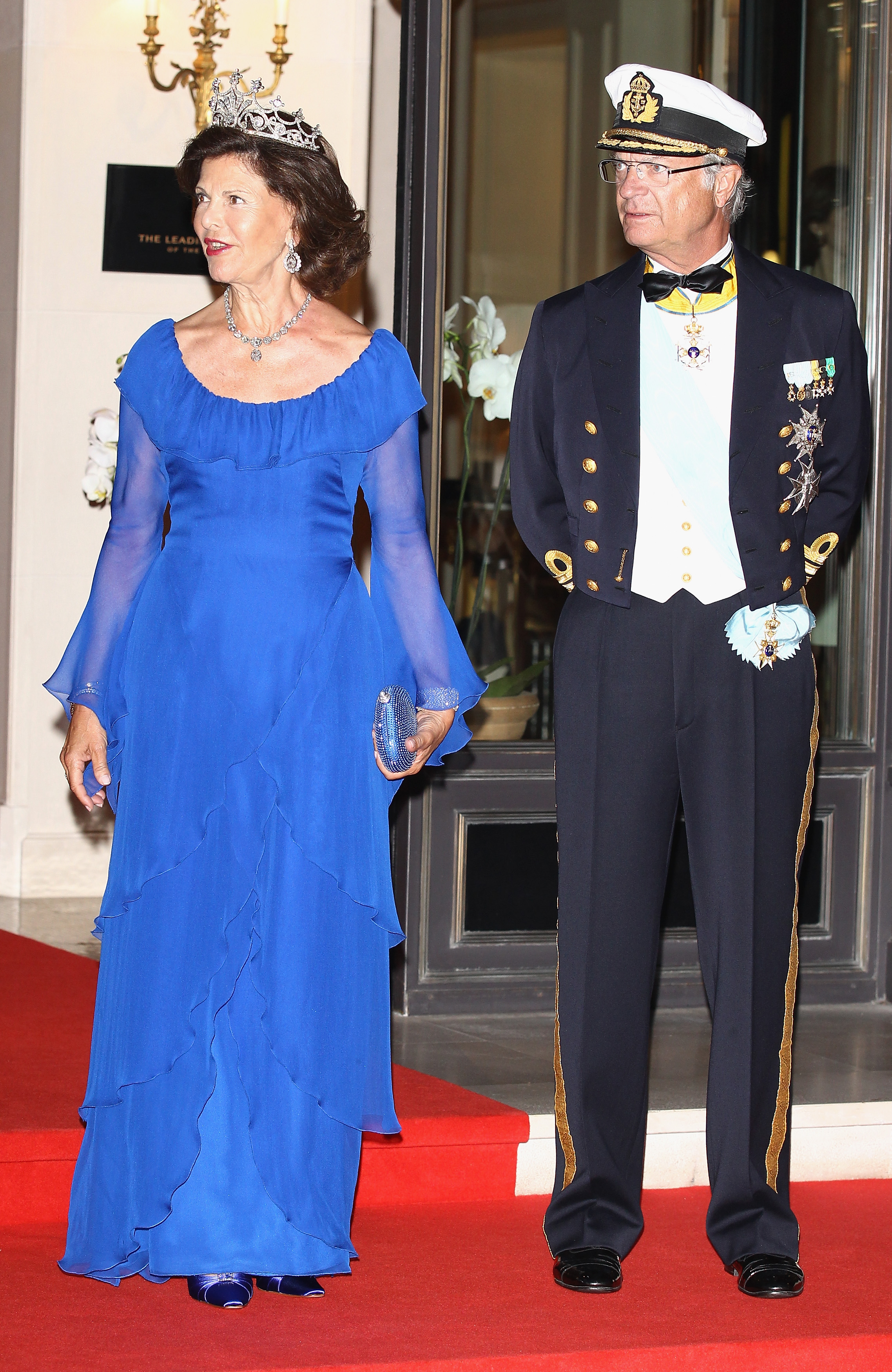 HM Carl XVI Gustaf, king of Sweden, and Queen Silvia of Sweden attended a dinner at Opera terraces after the religious wedding ceremony of Prince Albert II of Monaco and Princess Charlene of Monaco.