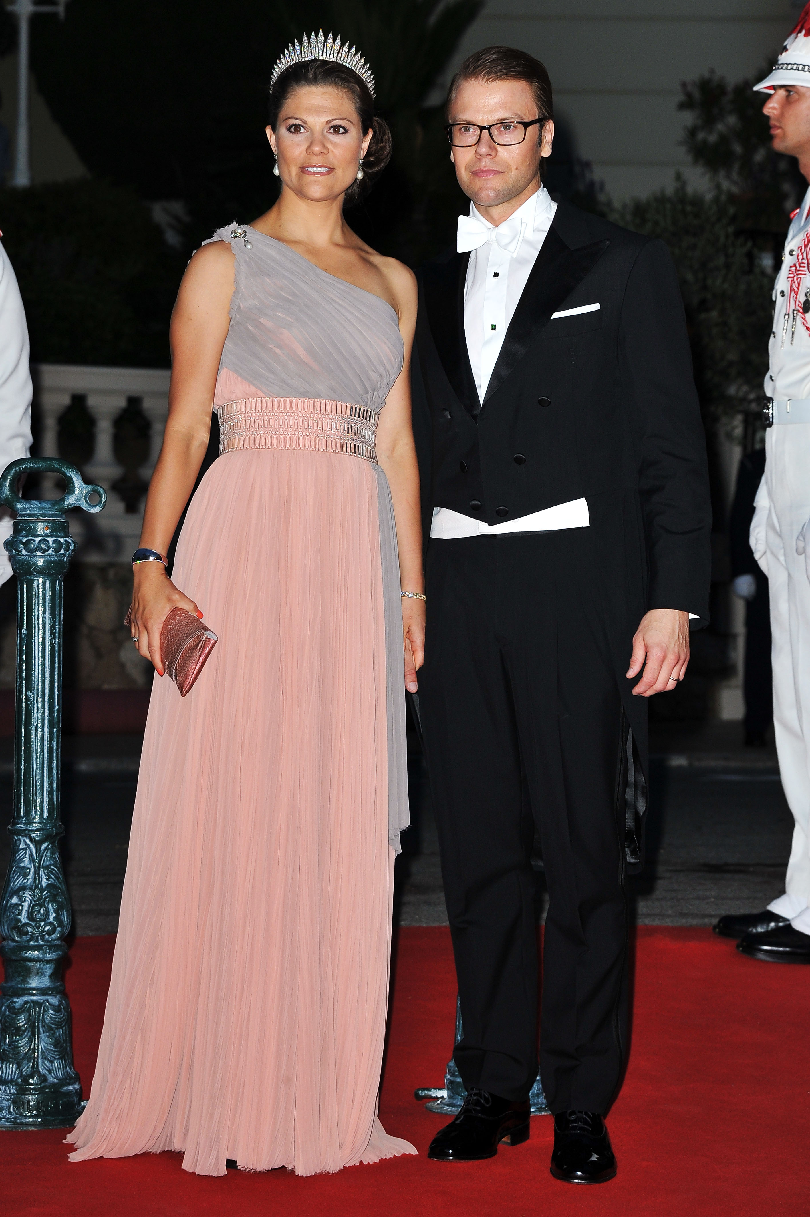 Crown Princess Victoria of Sweden and Crown Prince Haakon of Norway attended a dinner at Opera terraces after the religious wedding ceremony of Prince Albert II of Monaco and Princess Charlene of Monaco.