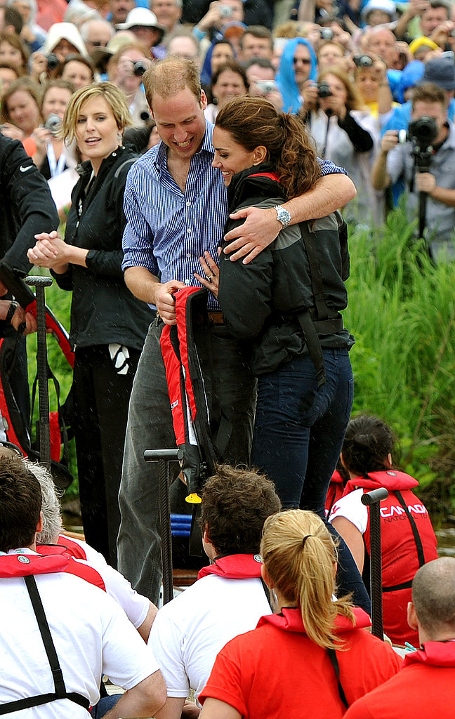 Prince William hugged his wife, Kate Middleton, after their race.