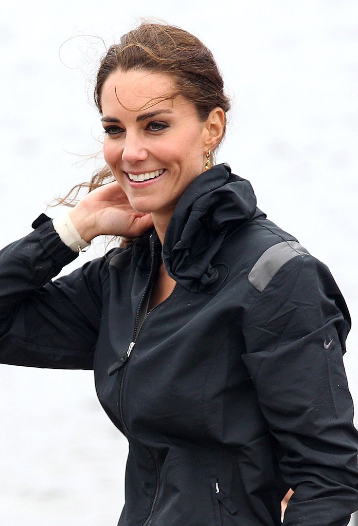 Kate Middleton pulled her hair back.