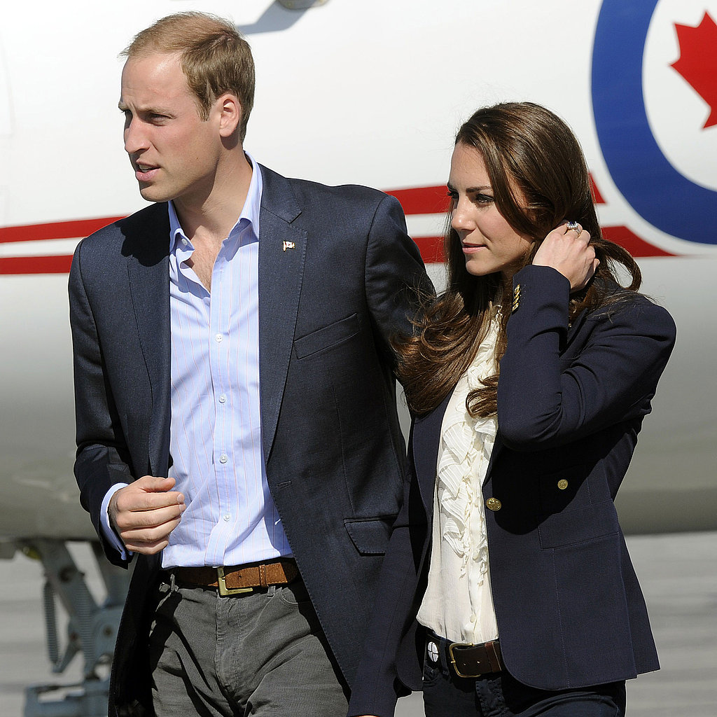 Kate Middleton and Prince William were in blue blazers.