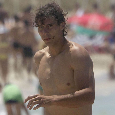 Rafael Nadal Shirtless on the Beach in Formentera, Spain
