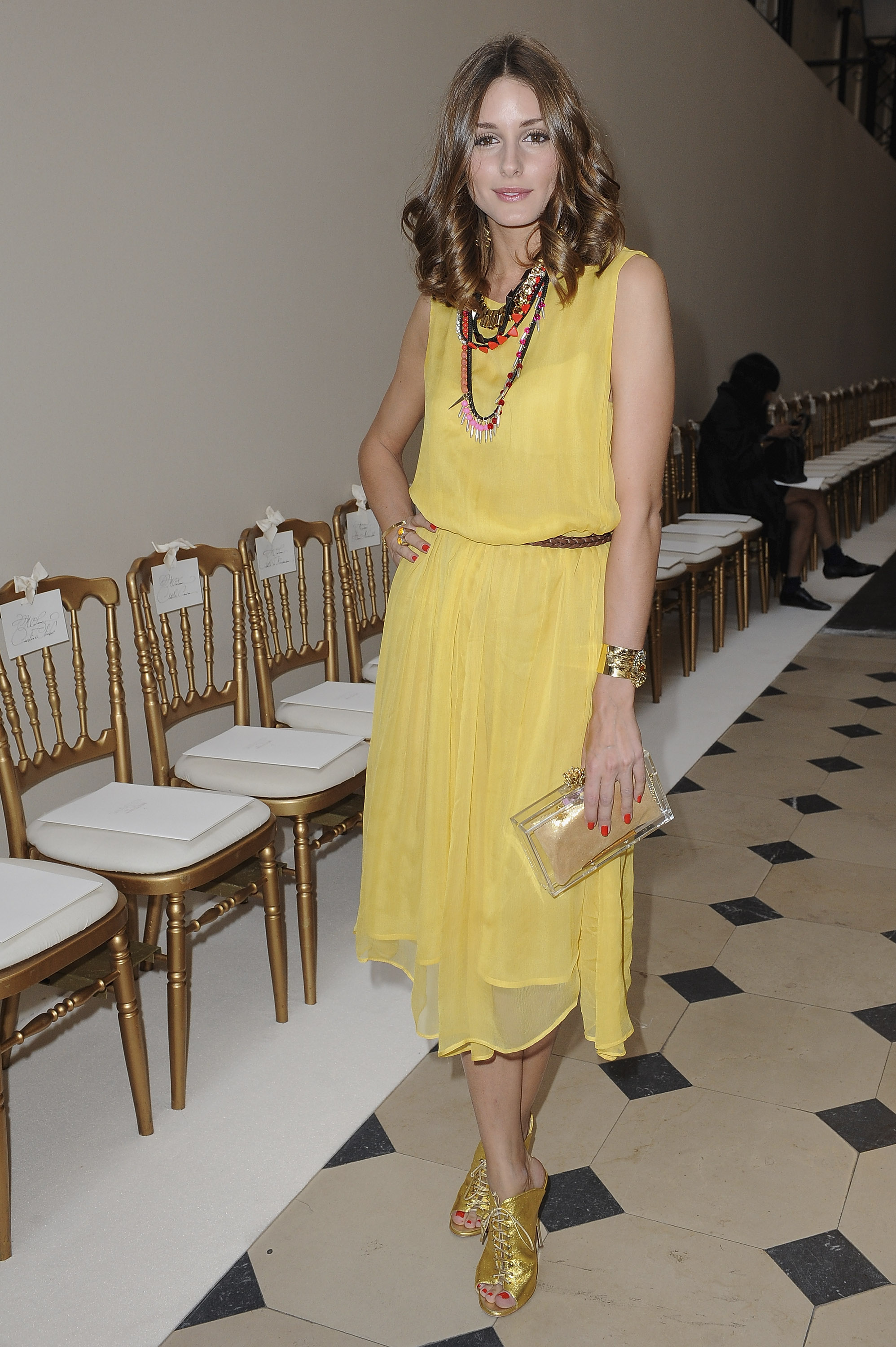 Olivia Palermo in Topshop dress, Giuseppe Zanotti shoes ...