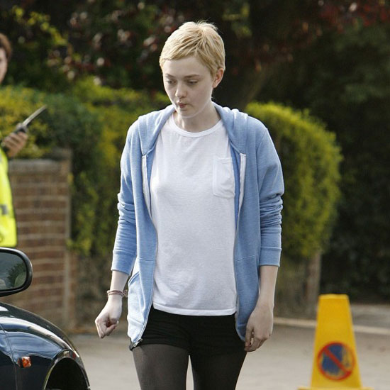 Dakota Fanning With a Short Haircut on the Now Is Good Set