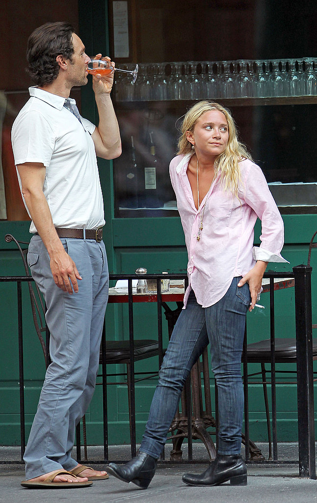 Mary-Kate Olsen chatting with a guy friend.