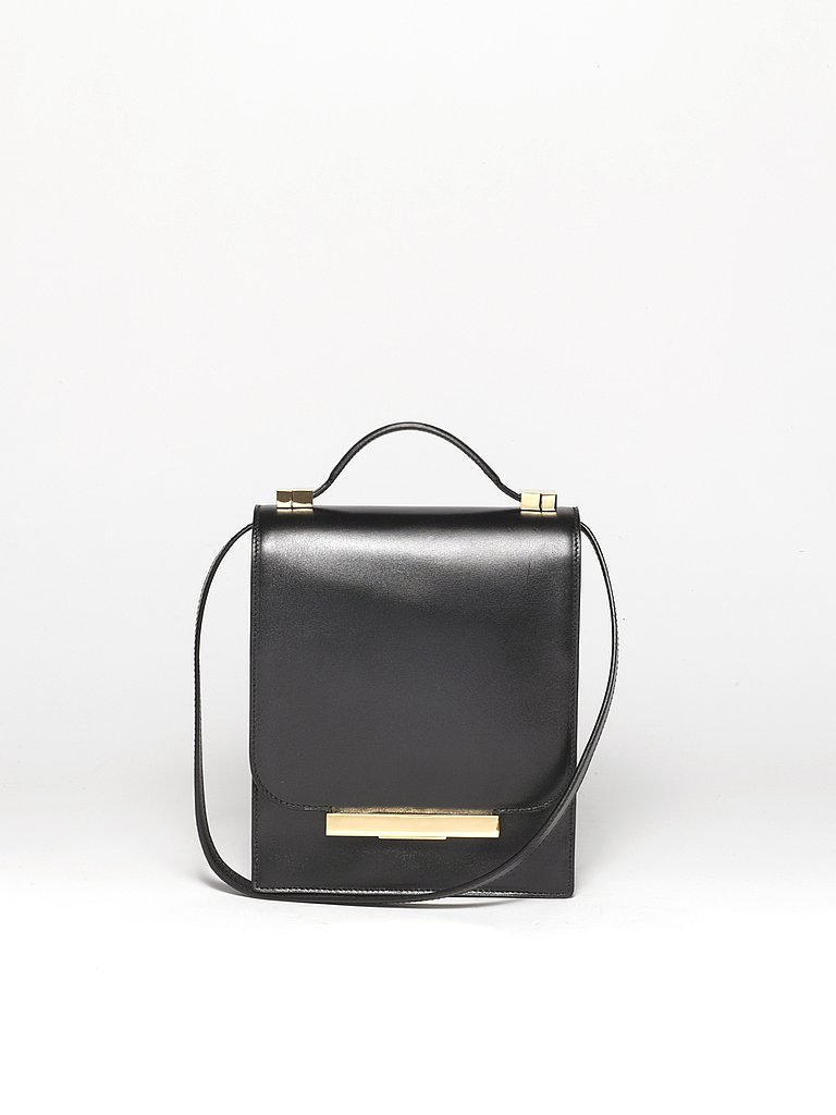 Classic Calfskin Flap Bag with Crossbody Strap in Black