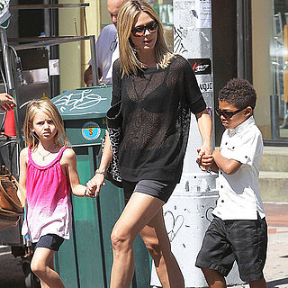 Heidi Klum in a See-Through Top With Her Kids in NYC
