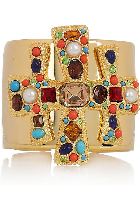 The cross shape and colorful baubles inspire a rock 'n' roll feel.  Kenneth Jay Lane Swarovski Crystal-Embellished 22-Karat Gold Cuff ($325)