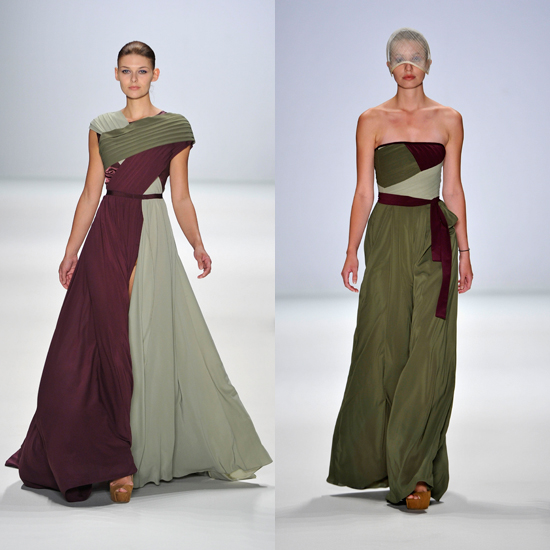 Two looks from designer Stephan Pelger, shown during this month's Mercedes-Benz Berlin Fashion Week, for Spring 2012.