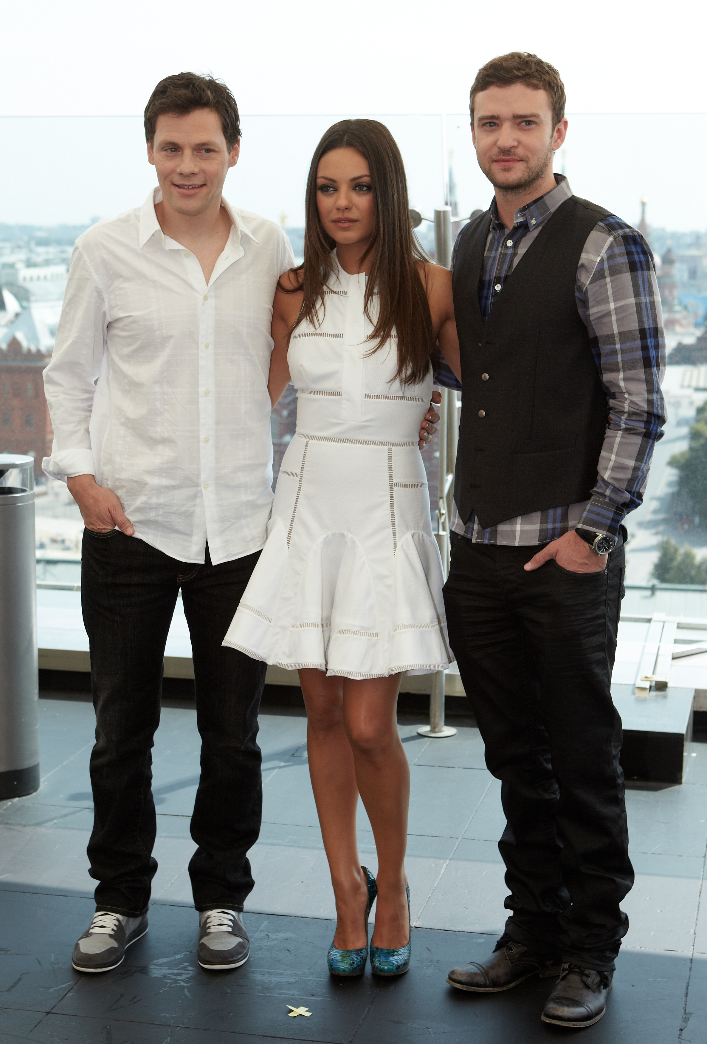 Justin Timberlake, Mila Kunis, and Will Gluck at a Friends With Benefits photo call in Russia.