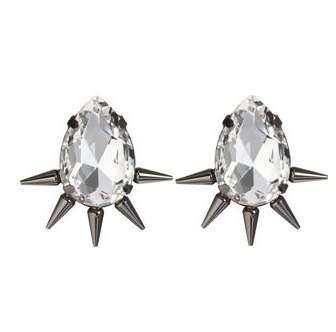 Fallon Gunmetal Spiked Teardrop Earrings ($125)