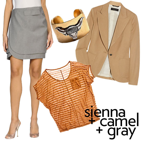 """""""And new pigments of sienna mixed with camels and grays,"""" said Roy. The abundance of neutrals make this color combo ideal for office-chic workwear. Rachel Roy Gray Wrap Skirt ($149, originally $295), Madewell Sienna Stripe Tee ($45), Robyn Rhodes Bronson Cuff ($66), Rag & Bone Wilshire Camel Blazer ($575)"""