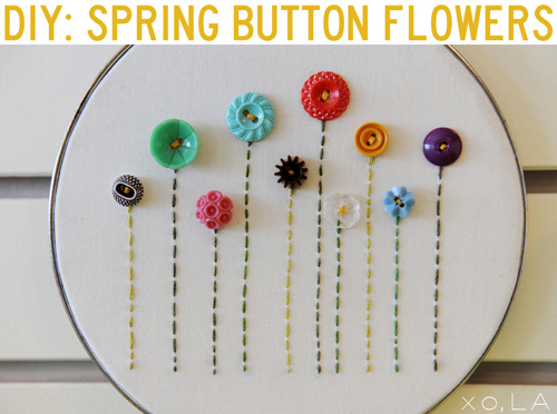 Button Embroidery Hoop Art