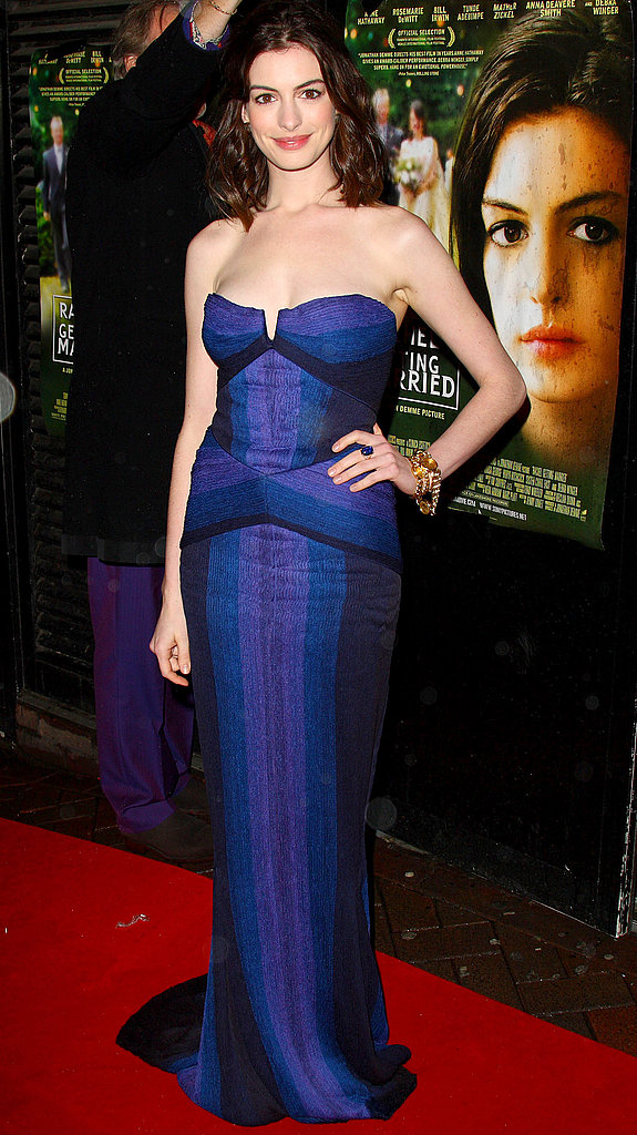 A gorgeous blue and purple stripe strapless gown at the London screening of Rachel Getting Married in 2008 highlights her heightened attention to fashion.