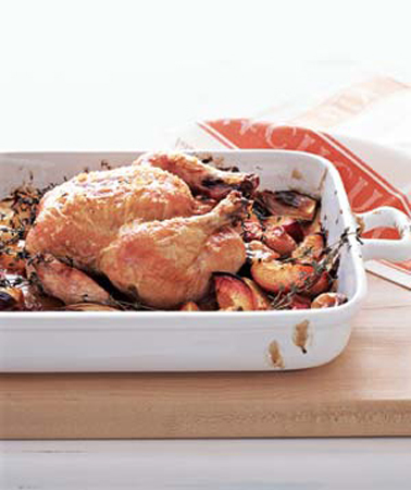 Roast Chicken With Balsamic Peaches
