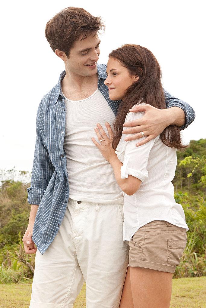 Kristen Stewart as Bella and Robert Pattinson as Edward share a sweet moment.