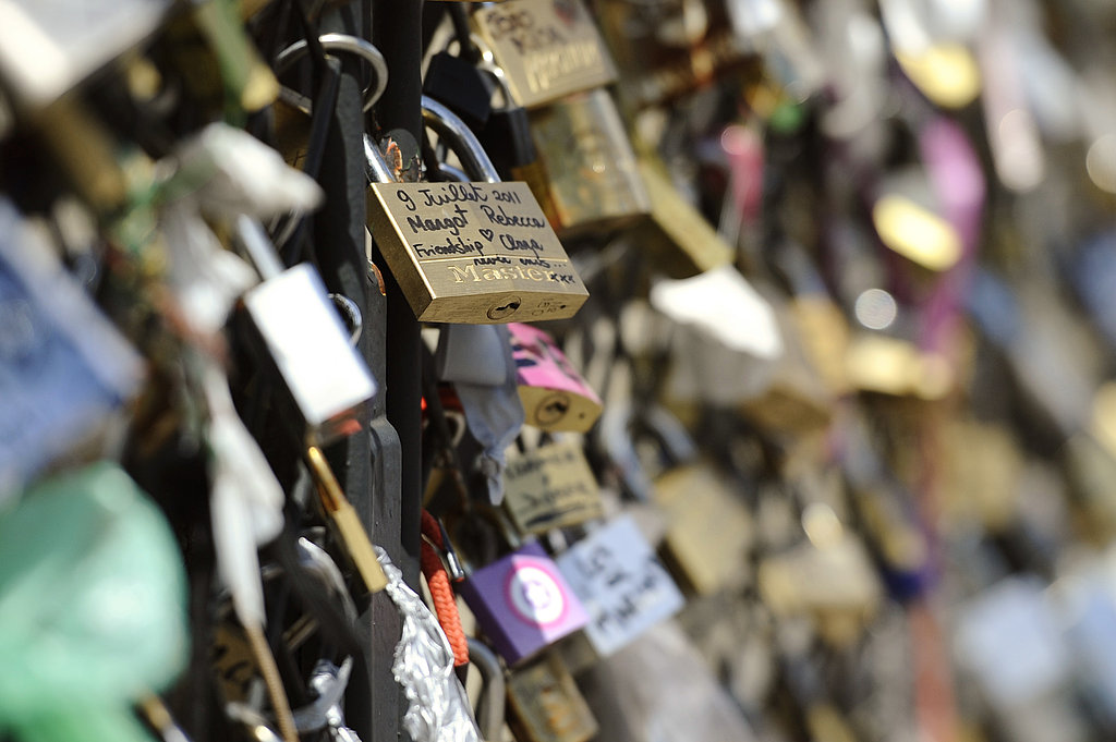Love padlocks covered the Archeveche bridge in Paris.
