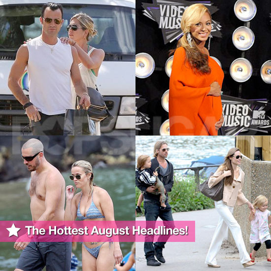 Jen and Justin's Tropical Vacation, Pregnant Beyoncé, Reese's Bikini, Jolie-Pitts in London: The Hottest August Headlines!