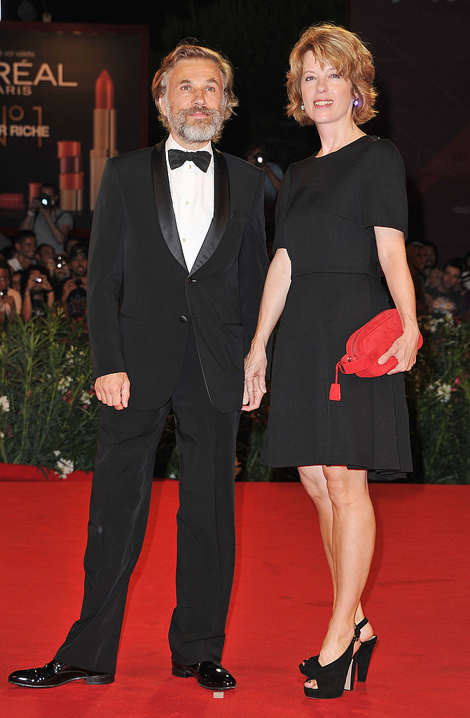 Christoph Waltz held his wife's hand at the premiere.