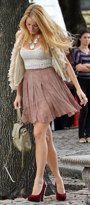 Blake Lively in Burgundy Embellished Brian Atwood Pumps
