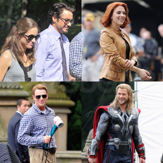 Scarlett Johansson and The Avengers Cast Join New Dad-to-Be Robert Downey Jr. on Set