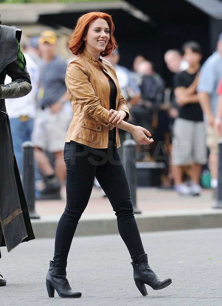 Scarlett Johansson strode around set in boots.