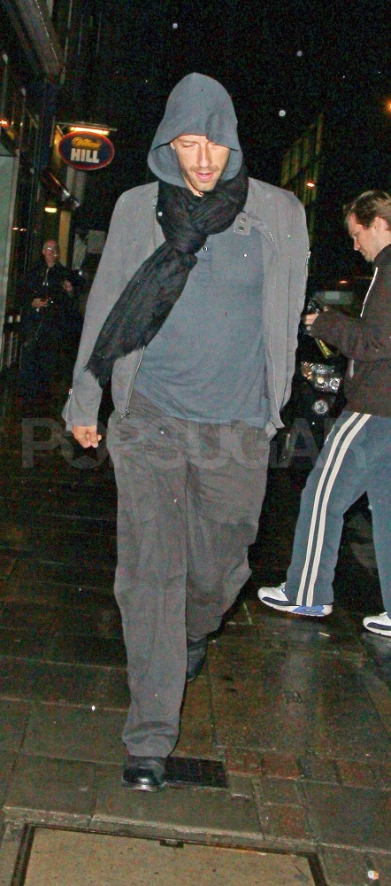 Chris Martin leaves dinner with Gwyneth Paltrow in London.