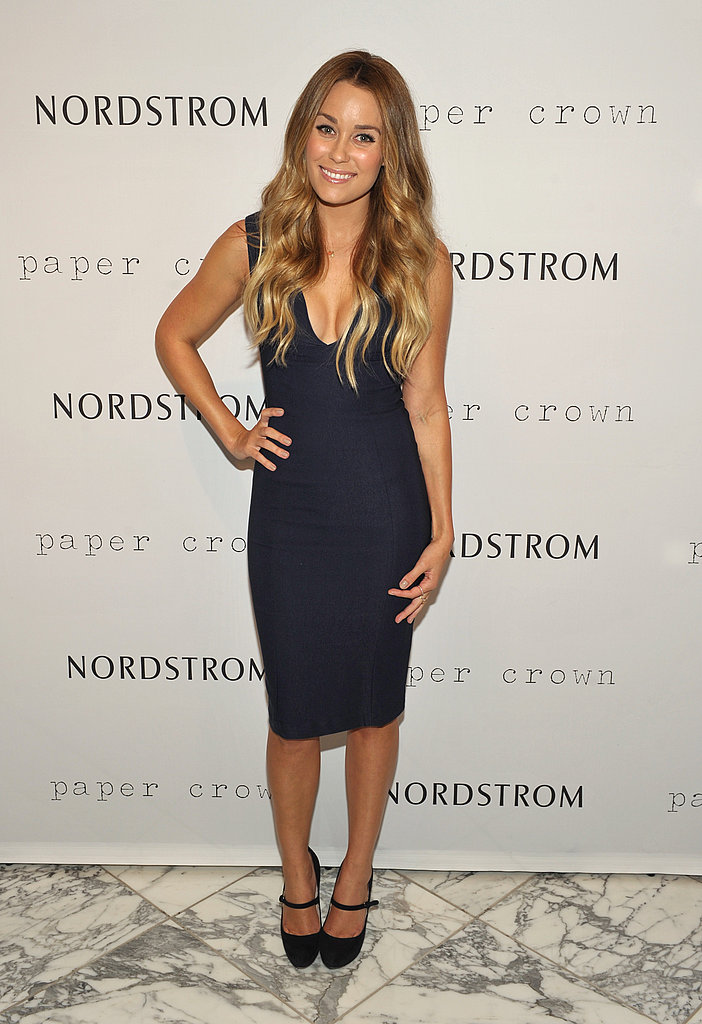 Lauren Conrad stepped out for FNO in a sleek, sexy low-cut dress and mary jane heels.