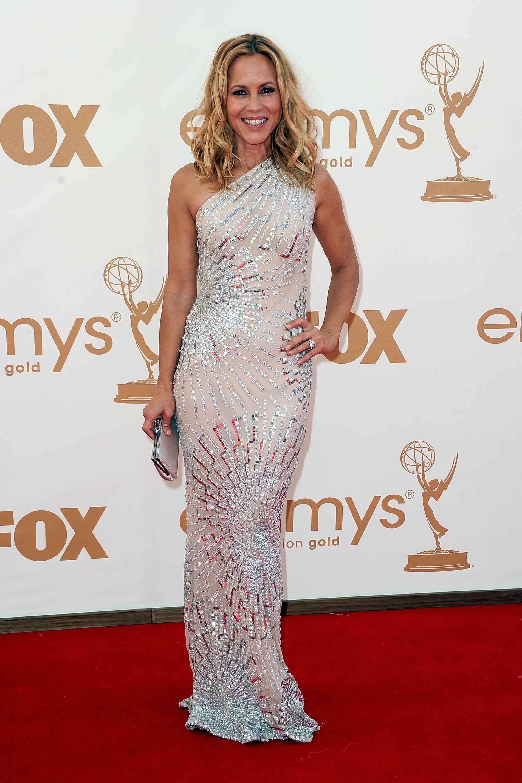 Maria Bello wears white to the Emmys.