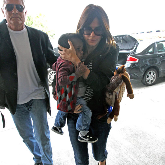 Sandra Bullock Pictures With Son Louis Bullock at LAX