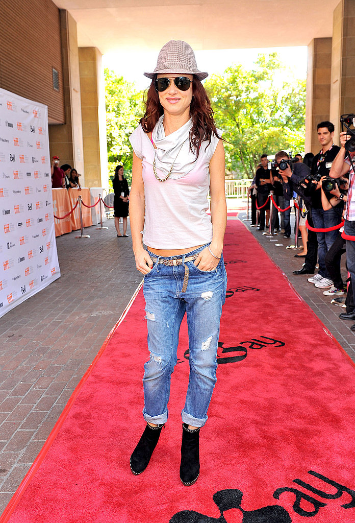 Juliette Lewis rocked a casual cool fedora and denim look on the red carpet at the premiere of Martha Marcy May Marlene.