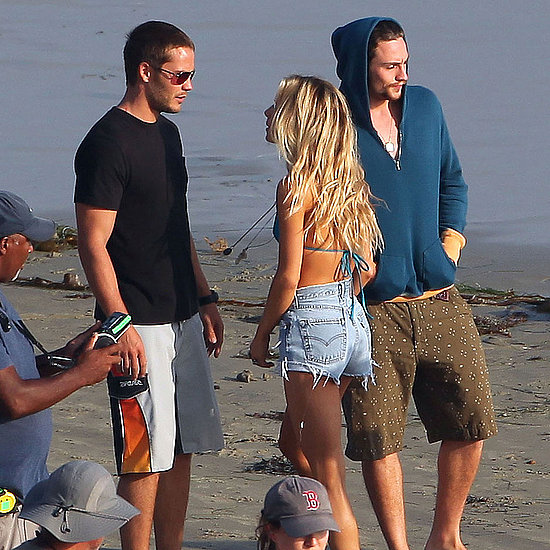 Blake Lively, Aaron Johnson, Taylor Kitsch on Savages Set