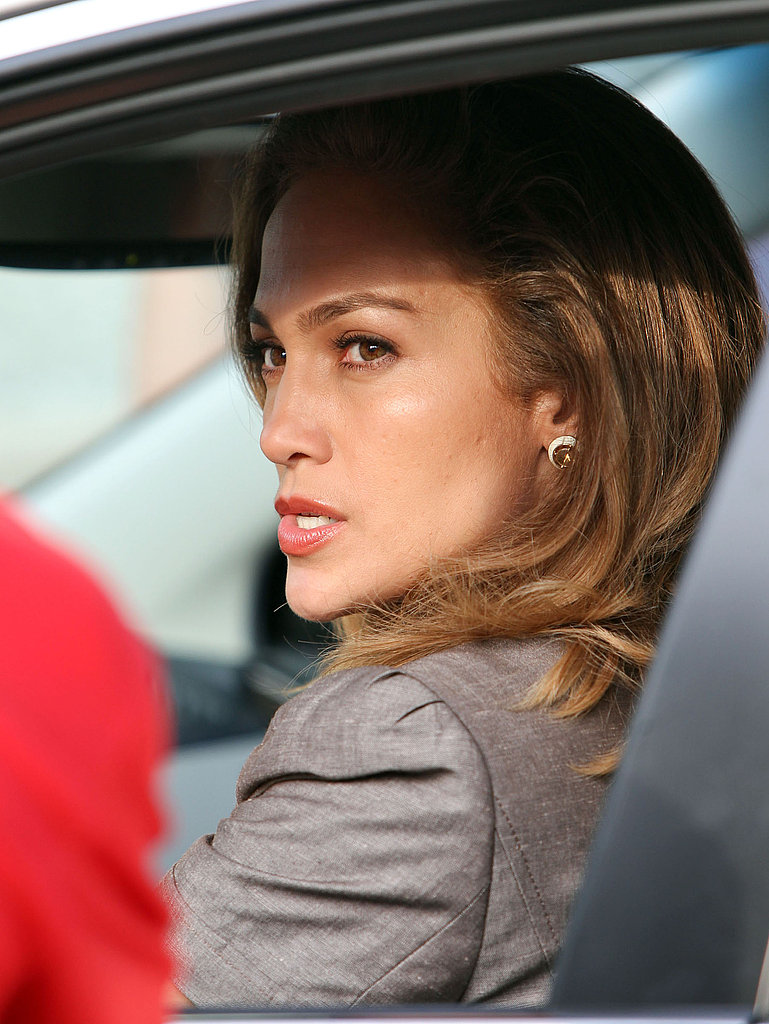 Jennifer Lopez suited up for filming.