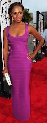 Tika Sumpter in Bright Purple Herve Leger Bandage Dress