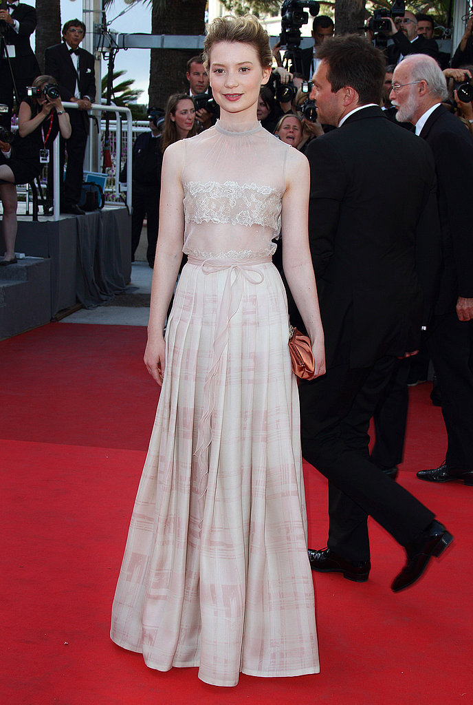 Another beautifully femme turn in Valentino at Cannes for The Tree of Life premiere.