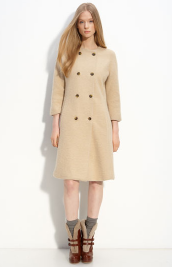 A vintage-inspired coat with cropped sleeves and a slight A-line is ultra ladylike, and needs only a pair of car gloves and a hat to channel Jackie O. Marc by Marc Jacobs Dex Sweater Coat (approx $651)