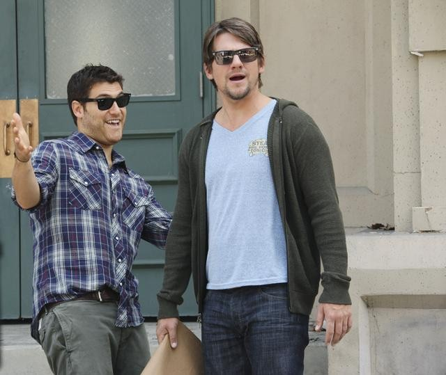 Adam Pally as Max and Zachary Knighton as Dave on Happy Endings.