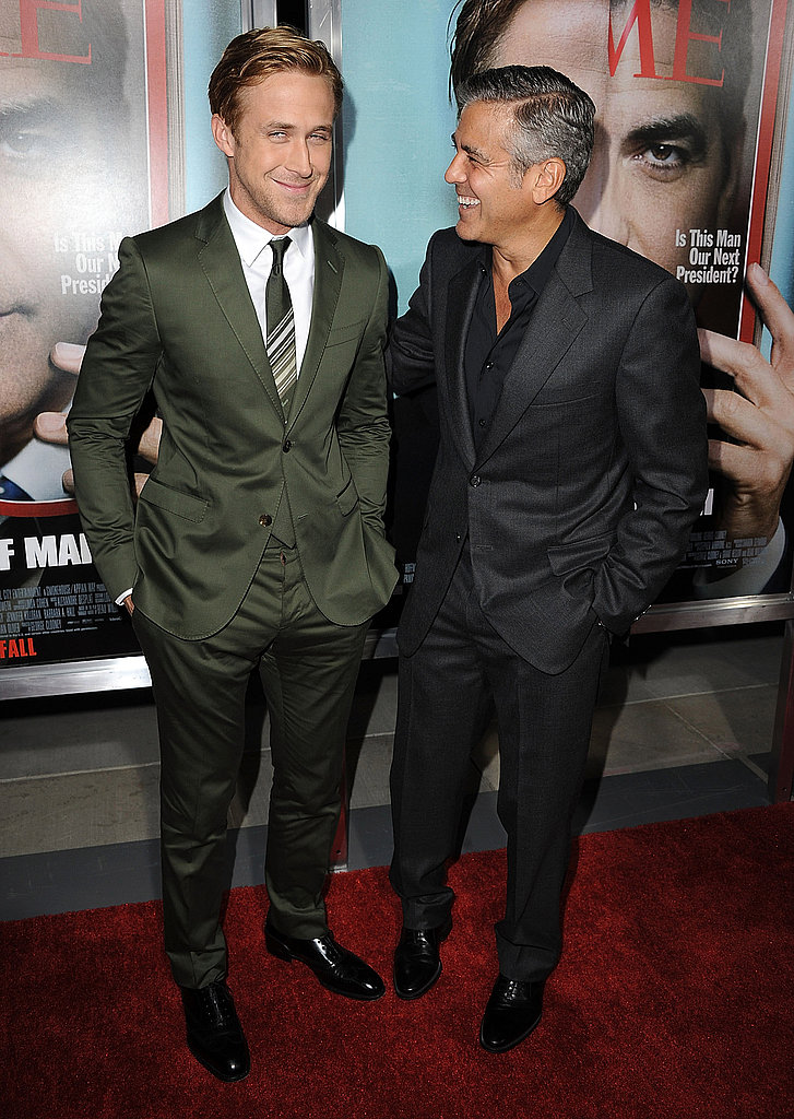 Ryan and George Make a Handsome Duo at Ides of March Premiere — With Stacy Keibler Along As Well!