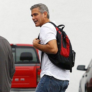 George Clooney White T-Shirt in LA Pictures