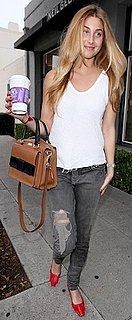 Whitney Port Carrying a Two-Tone Kate Spade Bag