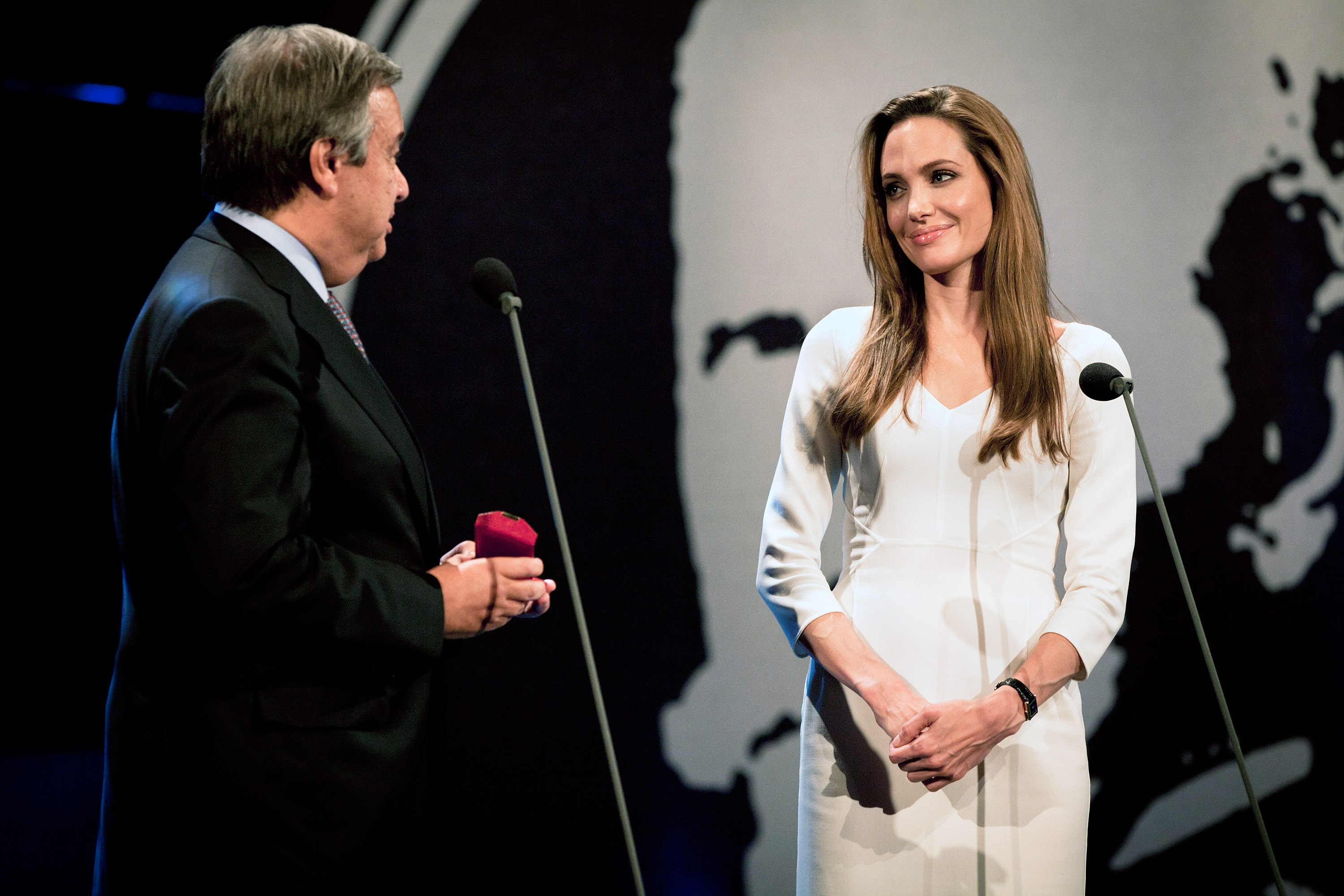 Angelina Jolie at UNHCR event in Geneva.