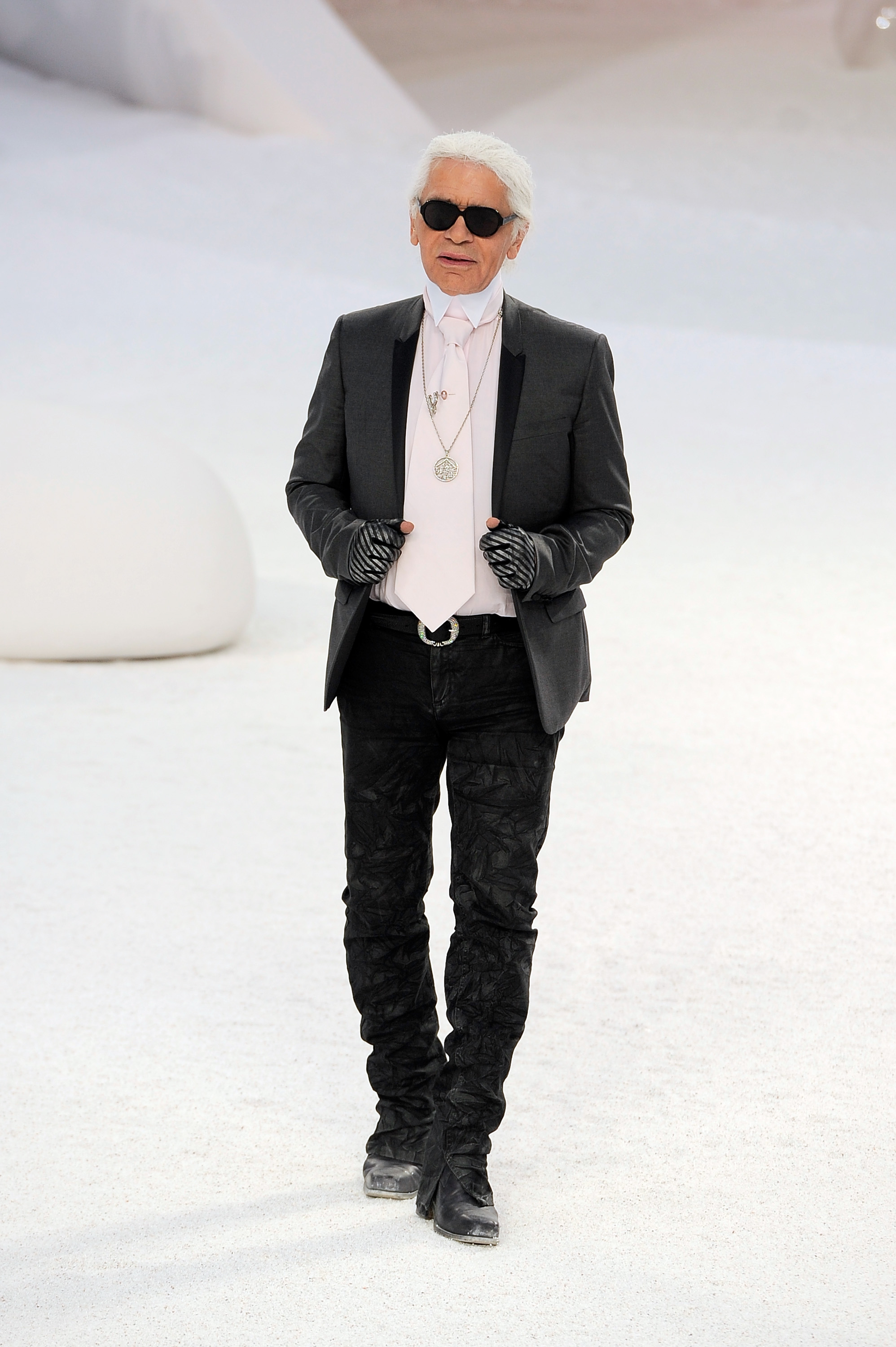 Karl Lagerfeld after Chanel show at Paris Fashion Week.