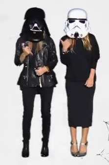 Mary-Kate Olsen and Ashley Olsen did the hitchhiker.